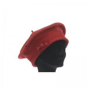 Béret femme laine rouge foncé avec noeud porte bonheur