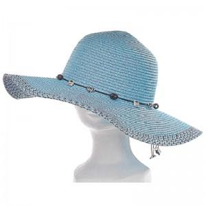 Capeline femme paille turquoise lien perles noir et blanc