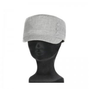 Casquette cubaine femme lin coton gris clair boutons doublure liberty