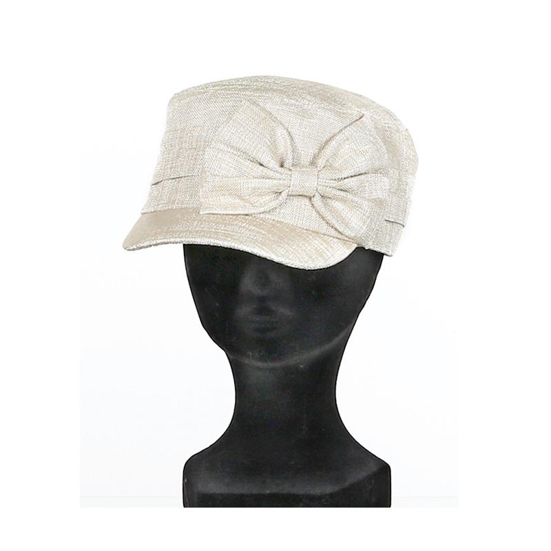grande sélection style distinctif extrêmement unique Casquette cubaine femme polyester beige gros nœud sur côté