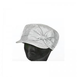 Casquette cubaine femme polyester gris gros nœud sur côté