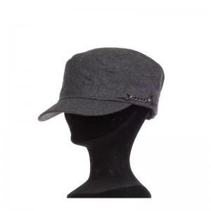 Casquette cubaine mixte laine et polyester gris foncé doublée avec chainette