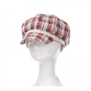 Casquette gavroche femme coton imprimé écossais rouge et noir dentelle crème
