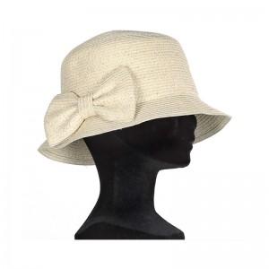 Chapeau cloche femme paille beige fil argenté gros noeud