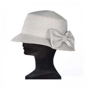 Chapeau cloche femme paille gris fil argenté gros noeud