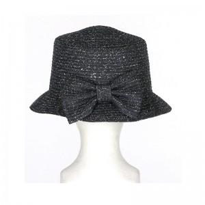 Chapeau cloche femme paille noir fil argenté gros noeud