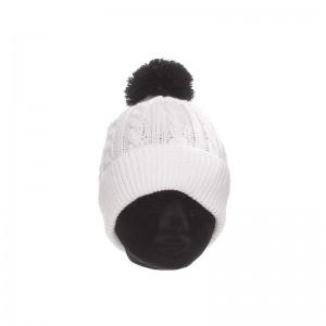 Bonnet acrylique femme écru maille torsadée pompon noir