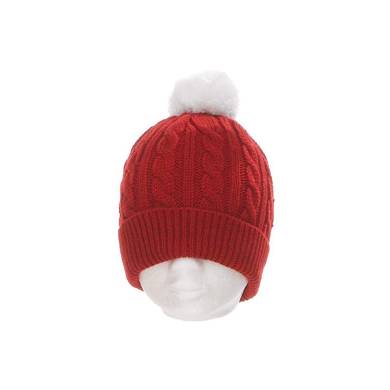 Bonnet acrylique femme rouge maille torsadée pompon écru - Kausia a87bbeaeeaf