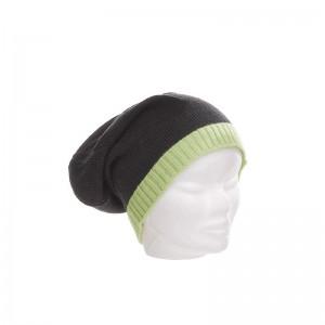Bonnet laine et acrylique mixte gris foncé bord fluo vert