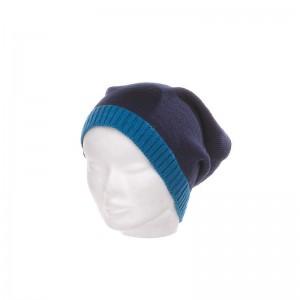 Bonnet laine et acrylique mixte marine bord fluo bleu