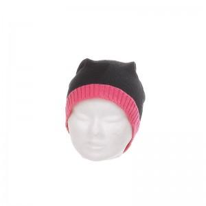 Bonnet laine et acrylique mixte noir bord fluo fuchsia