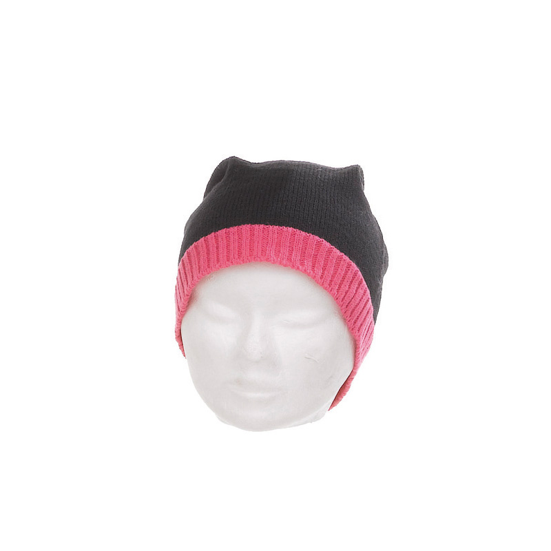 Bonnet laine et acrylique mixte noir bord fluo fuchsia - Kausia 969b4bf4794