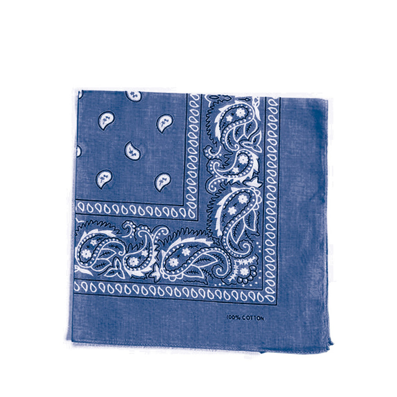 Carre Foulard Bandana Coton Bleu Jean 55 X 55 Kausia