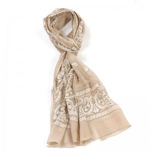 Écharpe beige coton bandana 70 x 180