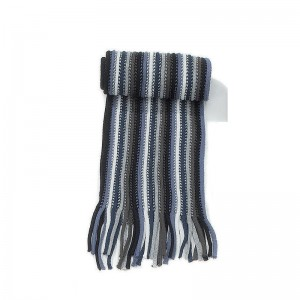 Écharpe bleu rayée maille acrylique + franges 20 x 197
