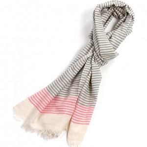 Écharpe gris rose fluo coton rayures 50 x 180 plus franges