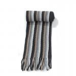 Écharpe noir rayée maille acrylique + franges 20 x 197
