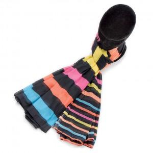 Echarpe rayures fond noir coton torsadée 70 x 180