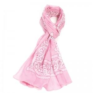 Écharpe rose coton bandana 70 x 180