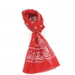 Écharpe rouge coton bandana 70 x 180