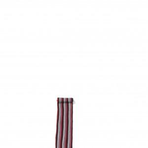 Écharpe rouge rayée maille acrylique + franges 20 x 197