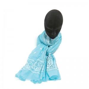 Écharpe turquoise coton bandana 70 x 180