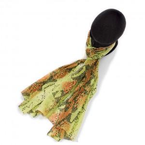 Écharpe vert anis coton imprimée serpent torsadée 70 x 180
