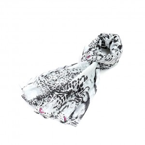 Étole blanc noir coton léopard torsadée 110 x 180