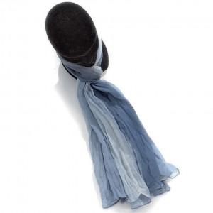 Étole dégradée bleu jean coton torsadée 110 x 180