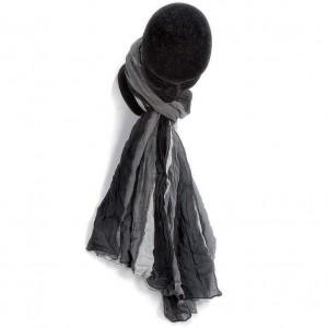 Étole dégradée noir blanc coton torsadée 110 x 180