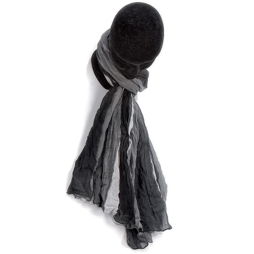 06d3094d638 Étole dégradée noir blanc coton torsadée 110 x 180 Kausia. Étole dégradée  noir. Foulard Bleu
