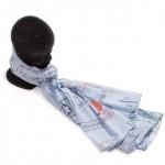 Étole fond bleu coton imprimée 110 x 180