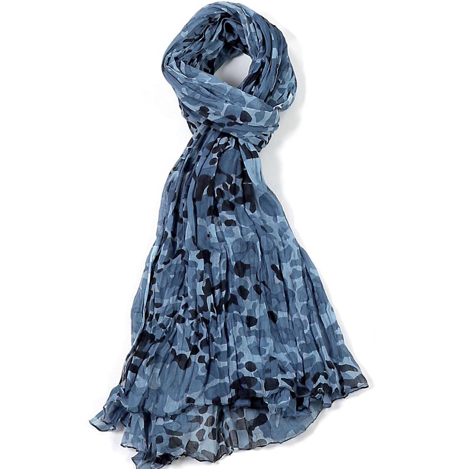 2d427676f5b Foulard Bleu. Étole gris coton camouflage torsadée 110 x 180 Kausia