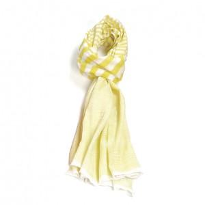 Étole jaune coton rayures torsadée 110 x 180
