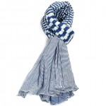 Étole marine coton rayures torsadée 110 x 180
