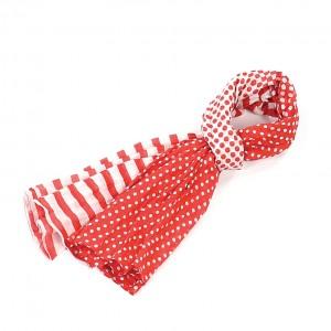 Etole rouge coton pois rayures torsadée