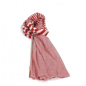 Étole rouge coton rayures torsadée 110 x 180