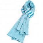 Étole turquoise coton rayures torsadée avec crochet 110 x 180