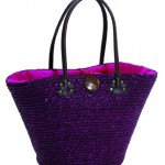 Panier Laure violet tressé en paille de riz