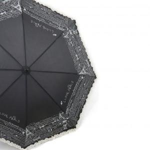 Parapluie droit femme automatique manche canne caoutchouc noir écru plus froufrous dessin fantaisie I love Paris 8 baleines 59 cm
