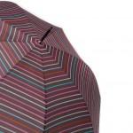 Parapluie droit mixte automatique fond marron rayures multicolores manche canne caoutchouc 8 baleines 59 cm