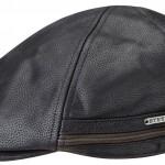 Casquette plate Redding Stetson cuir noir + protège-oreilles rabattables en polaire