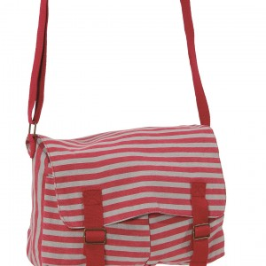 Sac besace Pauline rouge rayures grise