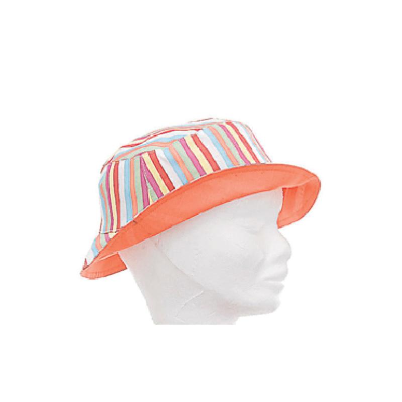 Bob réversible enfant coton uni orange ou rayures multicolores - Kausia 3b7e6846523