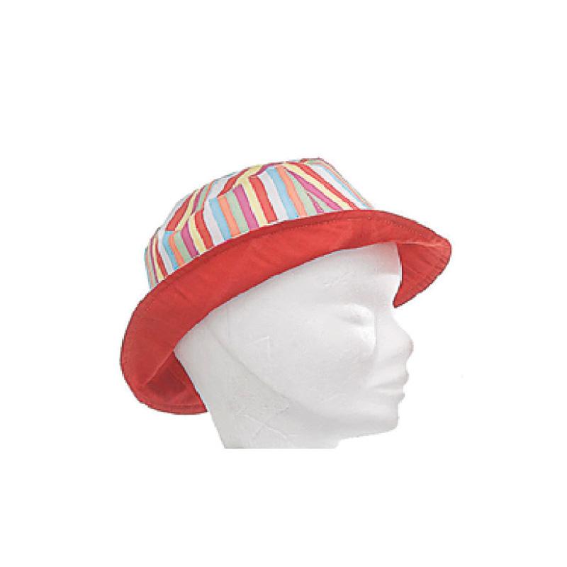 Bob réversible enfant coton uni rouge ou rayures multicolores - Kausia d636b432945