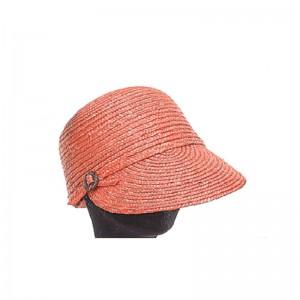 Casquette femme large visière paille orange bouton côté