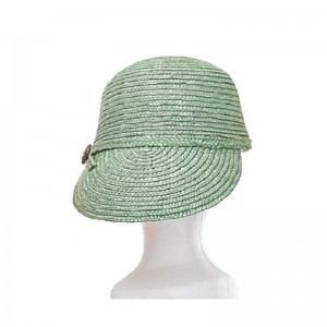 Casquette femme large visière paille vert clair bouton côté