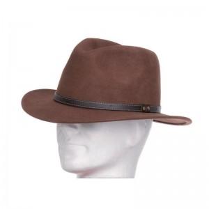 Chapeau Borsalino feutre laine mixte marron galon simili cuir