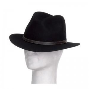 Chapeau Borsalino feutre laine mixte noir galon simili cuir