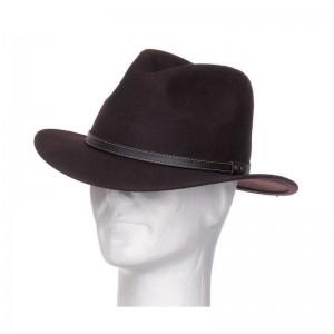 Chapeau Borsalino feutre laine mixte taupe galon simili cuir
